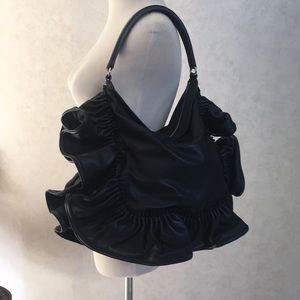NWT Valentino Black Leather Ruffled Shoulder Bag